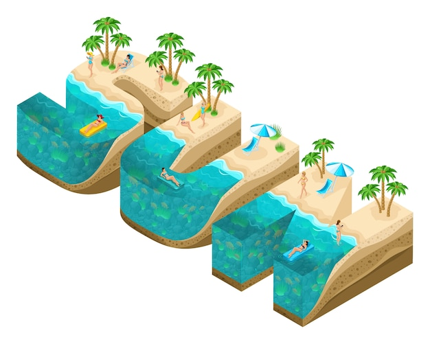 Isometry island in the form of large letters sun, letters, the depth of the earth and the sea, the underwater world, the beach, palm trees and happy people