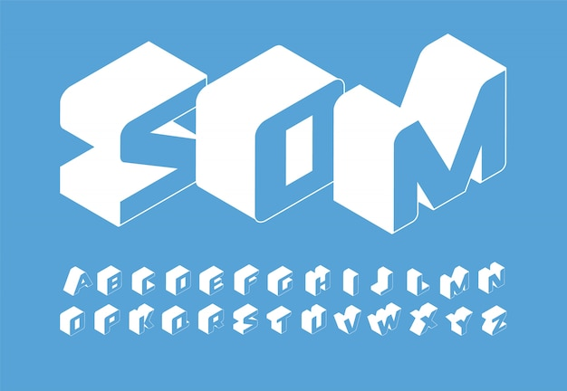 Isometry letters set. 3d isometric simple style latin alphabet.