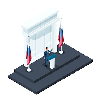 等尺性の男性大統領候補、クレムリンの説明会で話している候補者。スピーチ、ロシアの旗、選挙、投票