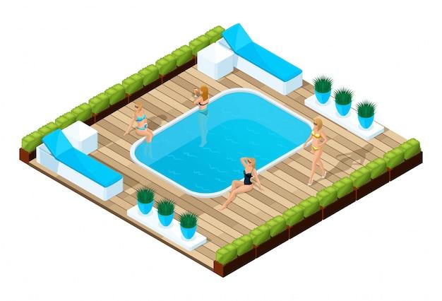プールサイドの女の子のアイソメ図、人々は休暇中、水泳中です。水着で美しい女の子の明るい広告コンセプト