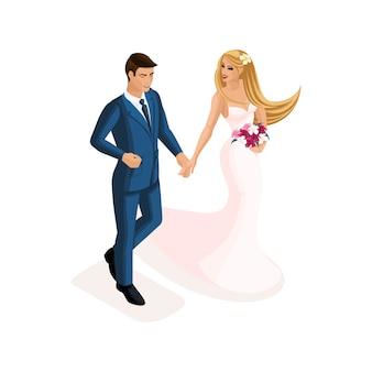 穏やかなピンクのウェディングドレスを着た新郎新婦の結婚時の男女のアイソメ図。スーツを着た男、花を持つ少女