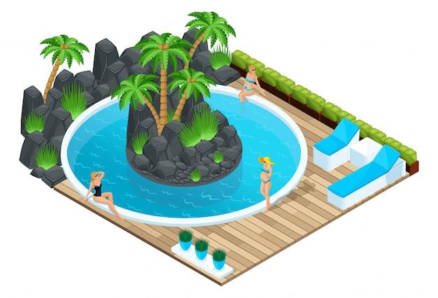 Изометрия девушки у бассейна, беременная женщина, люди в отпуске, плавание. красивый пейзаж, пальмы морские камни, яркая концепция для рекламы