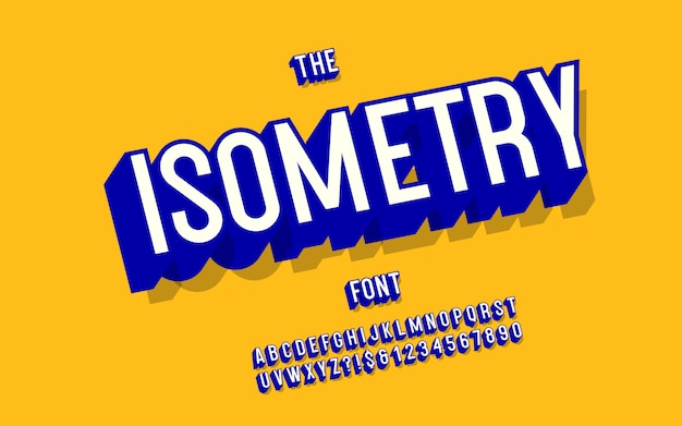 Isometry vector font 3d bold style for infographics