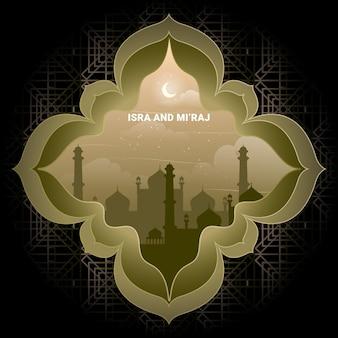 Isra' 및 mi'raj 아랍어 이슬람 배경 라마단