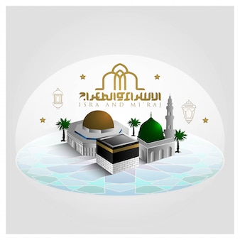 Isra and mi'raj greeting islamic illustration   with crescent