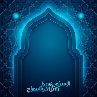 Isra mi'raj islamic greeting banner template with morocco pattern and mosque silhouette illustration