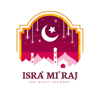 Illustrazione di isra miraj in design piatto