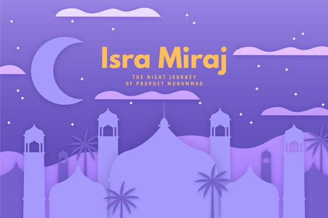 Isra miraj illustration in paper style with moon