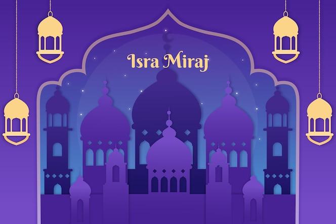 Isra miraj illustration in paper style