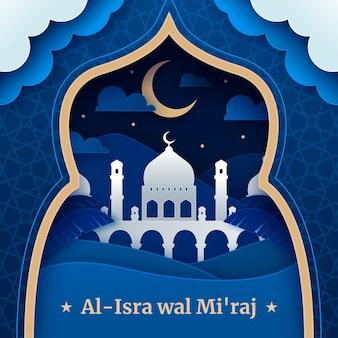 Illustrazione di isra miraj in stile carta
