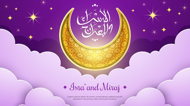 Isra miraj with crescent moon ornament in the sky