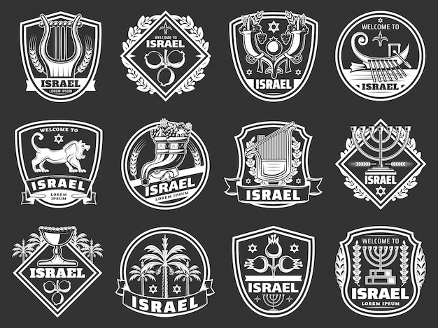 Israel david star, lion, menorah. judaism badges
