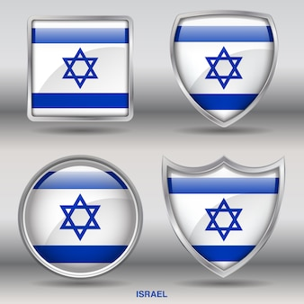 Israel flag bevel shapes icon