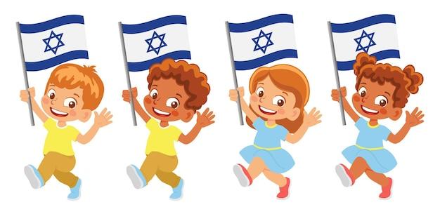 Israel flag in hand. children holding flag. national flag of israel