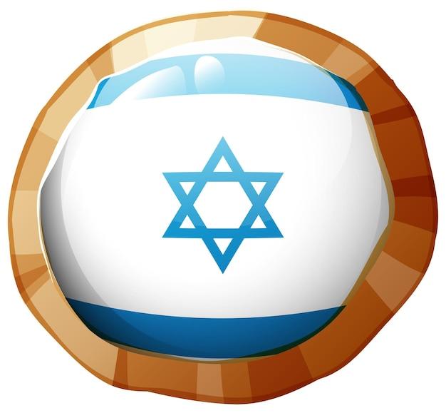 라운드 프레임에 이스라엘 국기