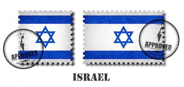 Israel flag pattern postage stamp Premium Vector