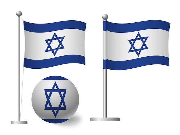 Israel flag on pole and ball icon