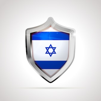 Israel flag projected as a glossy shield