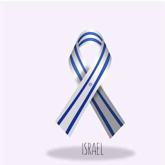 Israel flag ribbon design