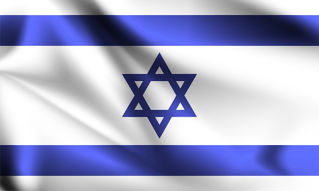 Israel flag waving with the wind, 3d illustration