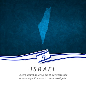 Israel flag with central map