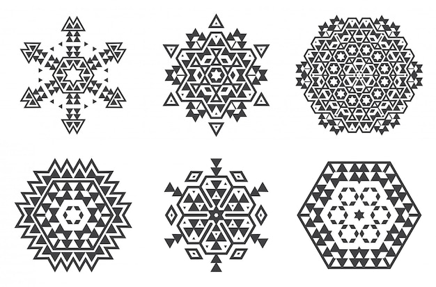 Израильская еврейская этническая фрактальная мандала-вектор выглядит как снежинка или ацтекский узор майя или цветок