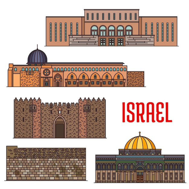 Israel landmark architecture, churches and temples buildings, vector jerusalem sightseeing religious places. wailing wall kotel, dome of the rock shrine on temple mount and islamic al-aqsa mosque