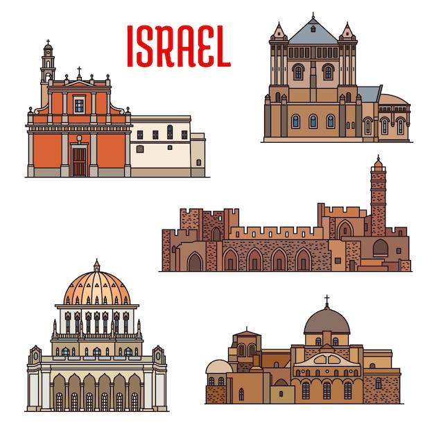 이스라엘 랜드마크 건축, 자파와 하이파 여행 관광, 벡터. 텔아비브의 이스라엘 유대인 및 이슬람 랜드마크 성묘 교회, 바하이 사원 또는 밥 신사, 성 베드로 대성당 프리미엄 벡터