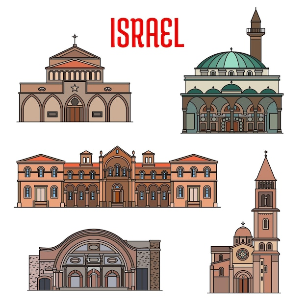 Israel landmarks, churches, mosques and temples of bethlehem, vector. israel jewish and islamic landmarks, great mahmoudiya and jazzar mosque, carmelites monastery and basilica of nativity