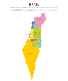 Israel multicolored map with regions.