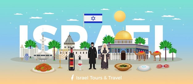Israel travel concept with trips and holidays symbols flat  illustration