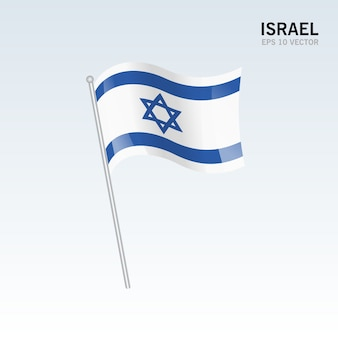 Israel waving flag isolated on gray background