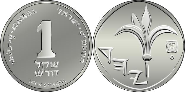 Израильские серебряные деньги монета в один шекель. номинал на реверсе, лилия и герб израиля на аверсе.