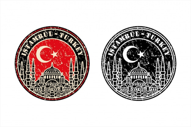 Istambul turkey stamp travel  design   logo