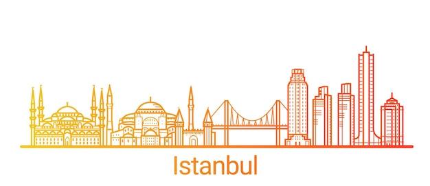 Цветная градиентная линия города стамбул