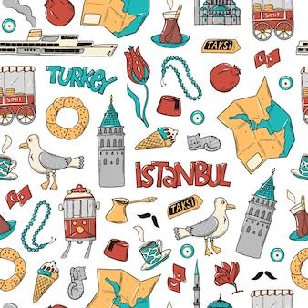 落書きとイスタンブールのシームレスなパターン