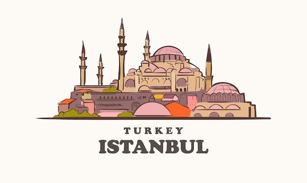 イスタンブールのスカイライン、トルコが描いたスケッチ都市のイラスト