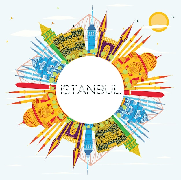 Istanbul turkey city skyline with color buildings, blue sky and copy space. vector illustration. business travel and tourism concept with istanbul city. istanbul cityscape with landmarks.