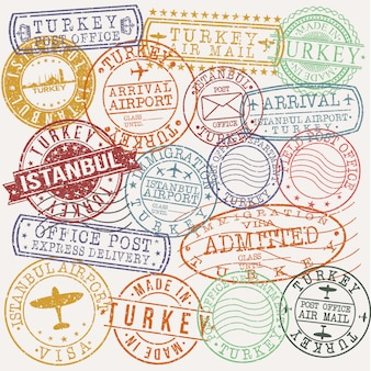 Istanbul turkey set of travel and business stamp designs