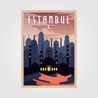 Istanbul turkey vintage poster illustration design