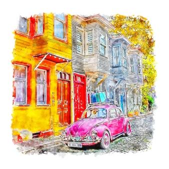 Стамбул турция акварельный эскиз рисованной иллюстрации