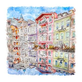 イスタンブール トルコ 水彩スケッチ 手描き