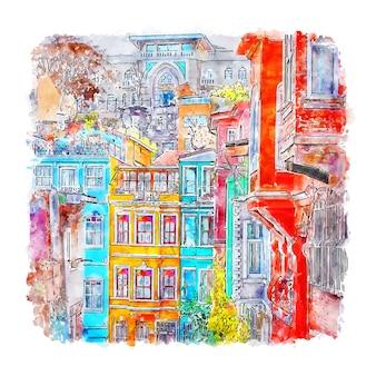 Стамбул турция акварельный эскиз рисованной