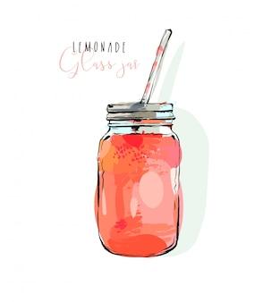 흰색 배경에 고립 된 유리 항아리에 딸기 열 대 레모네이드 쉐이크 음료의 istic 요리 그림. 다이어트 해독 개념입니다.
