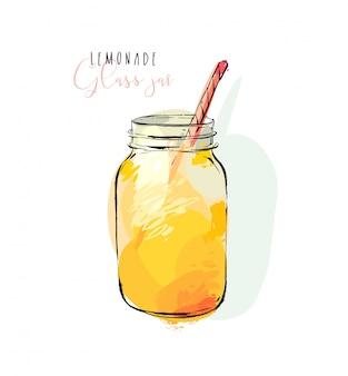 흰색 배경에 고립 된 유리 항아리에 열 대 레모네이드 쉐이크 음료의 istic 요리 그림. 다이어트 해독 개념입니다.