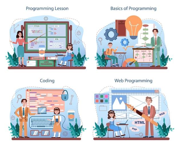 It教育の概念セット。学生はプログラミングを学び、ソフトウェアを書き、コンピューター用のスクリプトをエンコードします。ウェブサイトとデバイスのコンピューターサイエンスとテクノロジーはフラットベクターイラストをインターフェースします。