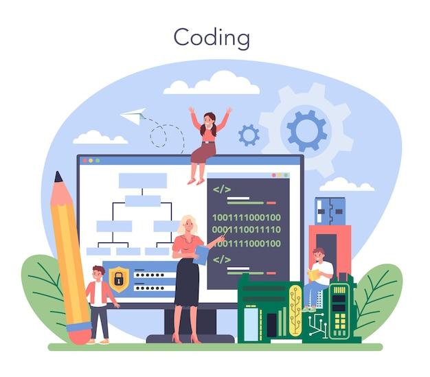 It 교육 개념. 학생이 소프트웨어를 작성하고 컴퓨터 용 코드를 만듭니다. 프로젝트 및 앱용 코딩 스크립트. 웹 사이트, 인터페이스 및 장치를위한 디지털 기술. 벡터 일러스트 레이 션.