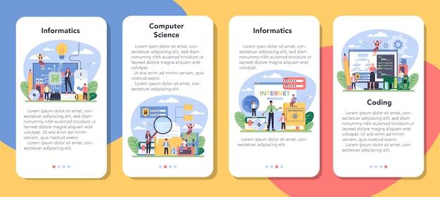Набор баннеров мобильного приложения для ит-образования