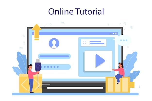 Онлайн-сервис или платформа для ит-образования. студент пишет программное обеспечение и создает код для компьютера.