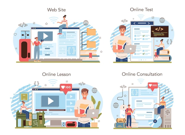 It education online service or platform set. student write software